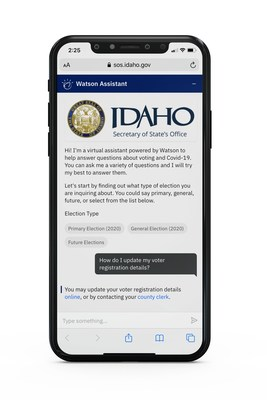 IBM announced it will help states use AI capabilities of Watson to put critical information directly into the hands of voters. Here, IBM Watson Assistant helps communicate registration and absentee ballot procedures to Idaho citizens.