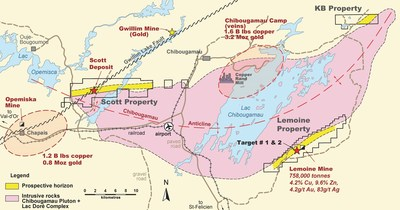 Figure 1. Location map of Yorbeau's projects in the Chibougamau camp, Quebec, including Lemoine property. (CNW Group/Yorbeau Resources Inc.)