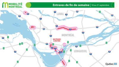 Carte générale des fermetures - FDS du 18 septembre 2020 (Groupe CNW/Ministère des Transports)