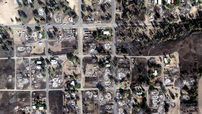 Wildfire damage in the Babb Fire, Washington.