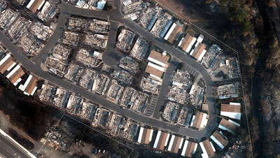 Wildfire damage near Medford, Oregon.