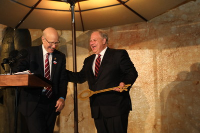 U.S. Senator Pat Roberts of Kansas, chairman of the Eisenhower Memorial Commission, bestows a ceremonial key to Secretary of the U.S. Department of the Interior David Bernhardt at the dedication of the new Dwight D. Eisenhower Memorial. The work of the Commission now complete, the National Park Service assumes responsibility for the operation and maintenance of the newest presidential memorial in Washington, D.C.