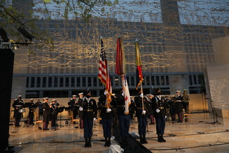 The 101st Airborne Honor Guard presents the colors at the dedication of the Dwight D. Eisenhower Memorial in Washington, D.C.