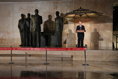 On a rainy evening in Washington, D.C., U.S. Senator Pat Roberts of Kansas delivers the keynote address at the dedication of the new Dwight D. Eisenhower Memorial.