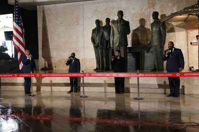 Voices of Service, a vocal quartet of veteran and active-duty military members, provides musical entertainment for attendees at the dedication of the new Dwight D. Eisenhower Memorial in Washington, D.C.