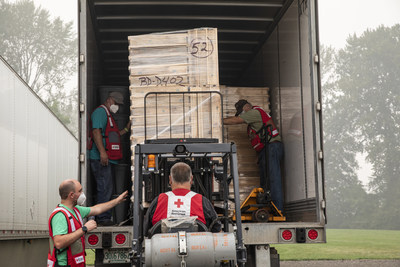 Sifters are loaded into a truck that will deliver them to families affected by the wildfires in Silverton, Oregon.  Sifters will be used to salvage items remaining at burned homes. (Photo by Scott Dalton/American Red Cross)