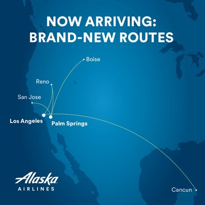 Alaska's new routes this winter between Los Angles and Cancun and Boise, and between Palm Springs and Boise, Reno and San Jose, California.