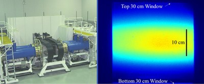 (Left) Photo of the Electra electron-beam pumped amplifier. (Right) The Electra diode's vertical dimension reduced from 30 cm to 10 cm to provide higher pump intensity for argon fluoride laser (ArF) operation. The image shows a time resolved measurement of the emitted light produced by the reduced size electron beam interacting with the laser gas along the laser axis.