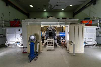 The U.S. Naval Research Laboratory argon fluoride (ArF) laser in Washington, D.C., June 1, 2020 waits to be tested with new thicker stainless foils. Researchers outfitted the ArF laser with new foils in hopes of increasing laser output. The ArF laser is the world's largest for studying the physics of developing a high efficiency electron-beam pumped at 193 nanometers. (U.S. Navy photo by Jonathan Steffen)