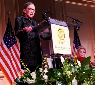 Justice Ruth Bader Ginsburg delivers her remarks at the inaugural RBG Award ceremony on February 14, 2020 at the Library of Congress with Julie Opperman.