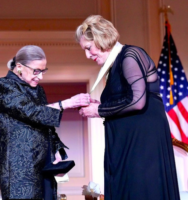 Justice Ruth Bader Ginsburg awards Agnes Gund with the inaugural RBG Award medal on February 14, 2020 at the Library of Congress.