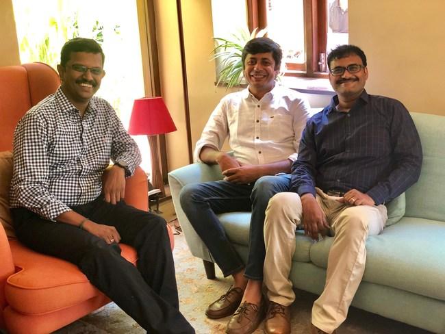 Hippo Video Founders (L-R): Karthi Mariappan, Nilamchand Jain, Srinivasan Krishnan