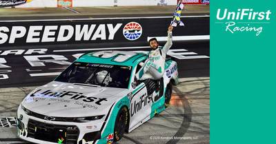Chase Elliott celebrates his NASCAR All-Star Race victory in the No. 9 UniFirst Chevrolet on July 15, 2020.