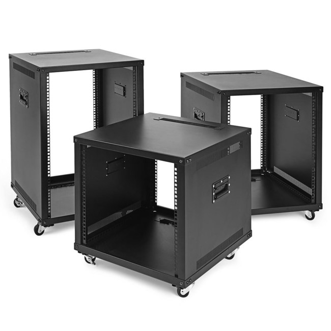 NavePoint Introduces 9U, 12U and 15U Portable Rolling Network Racks for Maximum Portability of Servers, Network, Telecom and A/V Equipment. The functional design allows maximum portability with swiveling casters, that can be locked when the unit is in place, and built-in side handles that are conveniently located towards the top of the rack for easy transport when needed.