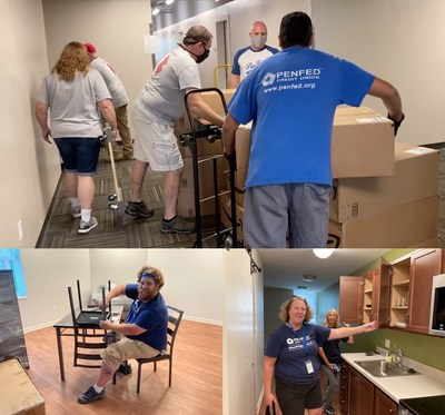 PenFed employees volunteer to move, assemble and set-up the furniture and household goods for veterans that was donated by the PenFed Credit Union and PenFed Foundation.