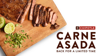 Chipotle's Carne Asada is grilled fresh in small batches, seasoned with a blend of signature spices, hand cut into tender slices, and is finished with fresh squeezed lime and hand-chopped cilantro.