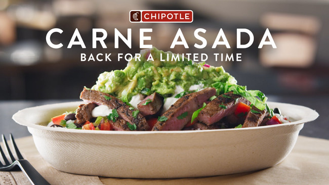Chipotle is bringing back Carne Asada to restaurants across the U.S. for a limited time. Chipotle Rewards members will get exclusive access to Carne Asada on September 22 and September 23 via the Chipotle app and Chipotle.com. From September 23 through September 27, the premium protein will be available as a digital-only menu item for all fans via the Chipotle app and Chipotle.com. Starting September 28, Carne Asada will be available in-restaurant and through third party delivery services.