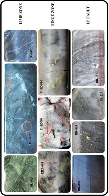 Figure 1: Examples of free gold in drill core from the Dixie Limb, Hinge and LP Fault zones. This is the dominant format of gold mineralization within these gold zones. Images are of selected core intervals and do not represent all of the gold mineralization at Dixie. (CNW Group/Great Bear Resources Ltd.)