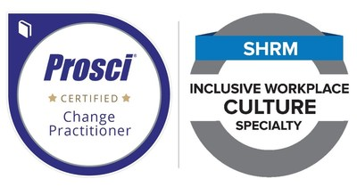 Prosci Change Management Practitioner certification (left) and the Society for Human Resource Management (SHRM) Inclusive Workplace Culture (IWC) Specialty Credential (right).