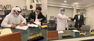 President XCAR Mr. Jassim Muhammad with CEO Napollo Mr. Ahmad J. Butt signing the deal