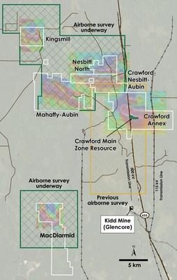 Figure 1 – Plan view of Planned Geophysical Survey Area over Crawford, Kingsmill, Nesbitt-Aubin, Nesbit North, MacDiarmid and Mahaffy-Aubin Properties, Ontario. (CNW Group/Canada Nickel Company Inc.)
