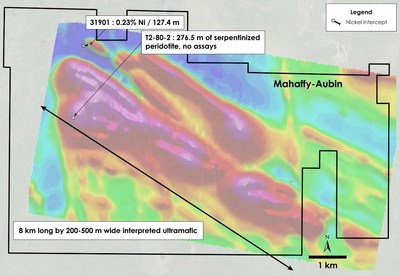 Figure 6 – Plan view of Mahaffy-Aubin Property – Historical drilling overlain on total field magnetic intensity, Mahaffy and Aubin Townships, Ontario. (CNW Group/Canada Nickel Company Inc.)