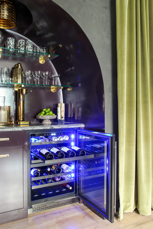 Built-in custom bar with Presrv Black Stainless Steel Dual Zone Wine Cooler. Designed by Sonoma, CA-based designers, hommeboys.