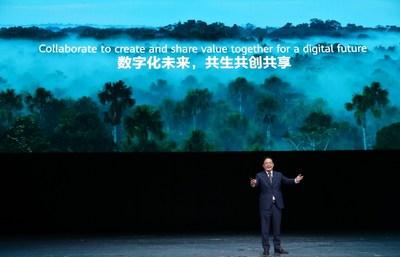 """Na HUAWEI CONNECT 2020, o Sr. Peng Zhongyang, Board Member, President of Enterprise BG, Huawei, proferiu um discurso sobre o tema """"Mudança de paradigma para um valor maior"""" (PRNewsfoto/Huawei)"""