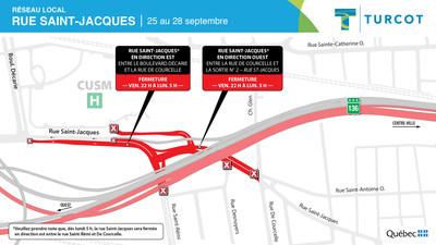 Entraves sur le réseau local - Rue Saint-Jacques (Groupe CNW/Ministère des Transports)