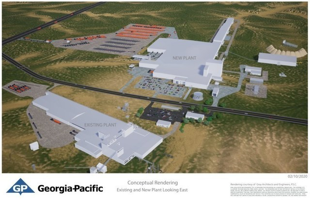 Georgia-Pacific announces that it is building a state-of-the-art gypsum wallboard production facility near Sweetwater, Texas. The new $285 million plant will be Georgia-Pacific's second gypsum wallboard facility in Nolan County. The new facility will be located adjacent to Georgia-Pacific's existing gypsum plant, on Highway1856, off Interstate 20, and will incorporate state-of-the-art production processes.