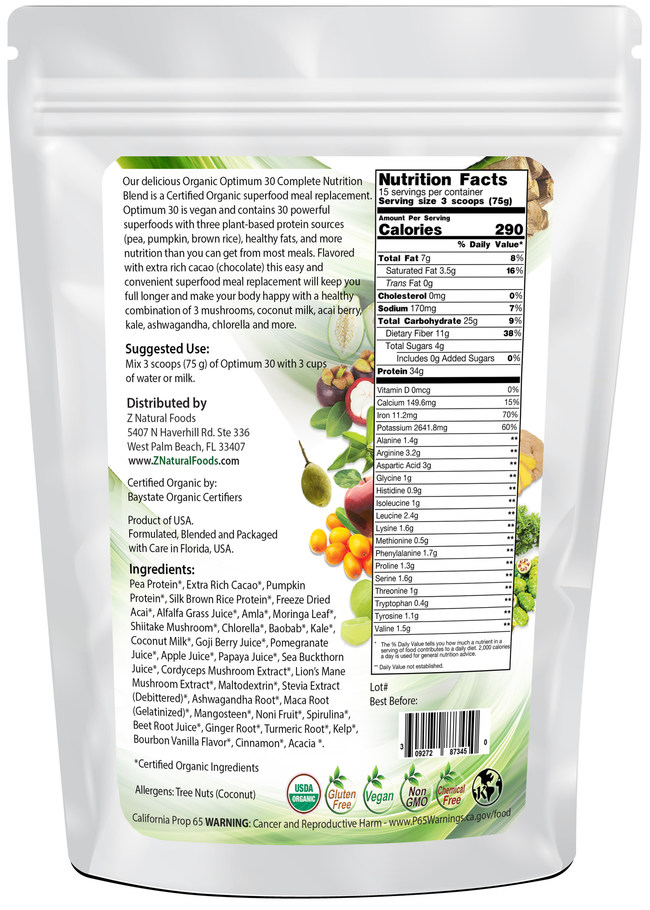 Optimum 30 Chocolate Meal Replacement, High in Protein, 30 Superfoods and Powerful Medicinal Mushrooms
