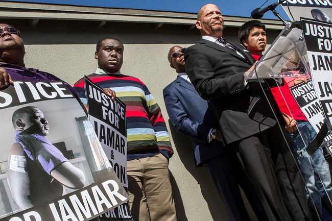 H&H attorneys John Harris & Herbert Hayden at the press conference with Jamar Nicholson, the LA teen shot by police.
