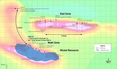 Figure 3 ? Plan view of PGM Zone - Recent drilling overlain on total field magnetic intensity, Crawford Nickel-Cobalt Sulphide Project, Ontario. (CNW Group/Canada Nickel Company Inc.)