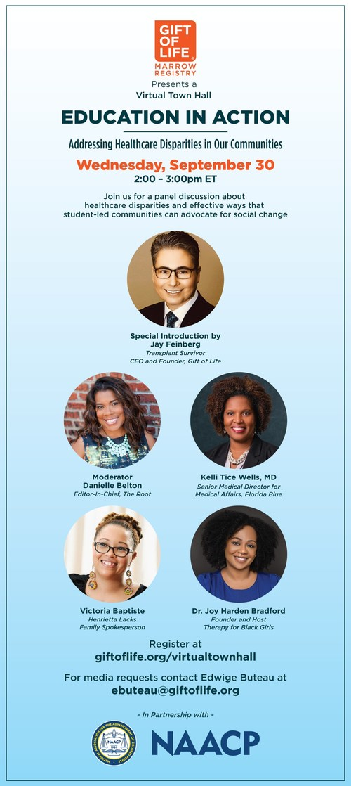 Gift of Life Marrow Registry and the NAACP to host virtual town hall on healthcare disparities on September 30, 2PM ET.