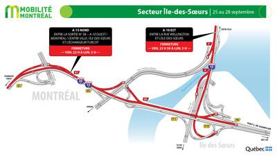 Autoroutes 10 et 15, secteur Île des Sœurs, fin de semaine du 25 septembre (Groupe CNW/Ministère des Transports)