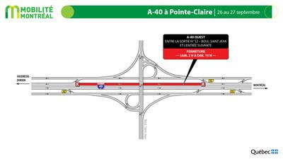 A40 OUEST à Pointe-Claire, fin de semaine du 25 septembre (Groupe CNW/Ministère des Transports)