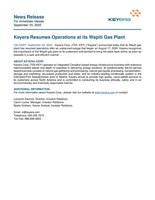 Keyera Resumes Operations at its Wapiti Gas Plant (CNW Group/Keyera Corp.)