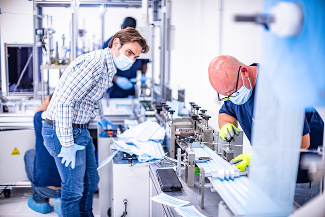 From Armbrust American's Austin-TX area medical mask production facility. Photo by Alex Smith.