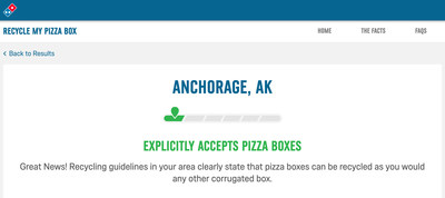 Domino's is launching a new feature on recycling.dominos.com that customers can use to look up their zip code for their neighborhood's status on pizza box recycling.
