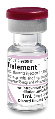 Tralement is supplied in a glass 1 mL single dose vial. *Each mL provides zinc 3 mg, copper 0.3 mg, manganese 55 mcg, and selenium 60 mcg.