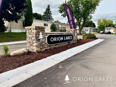 Among the community updates made by Havenpark Communities to the Orion Lakes community include new signage like this beautiful new monument sign at the entrance of the community.