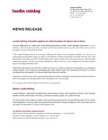Lundin Mining Provides Update on Fatal Accident at Neves-Corvo Mine (CNW Group/Lundin Mining Corporation)