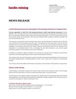 Lundin Mining Announces Interruption of Processing Activities at Chapada Mine (CNW Group/Lundin Mining Corporation)