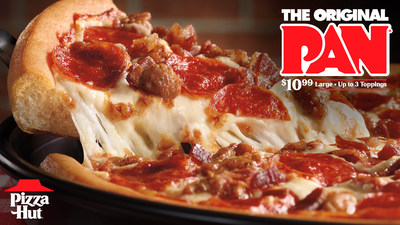 For a limited time, Pizza Hut is serving up its iconic, Original Pan® Pizza with its best deal yet. Fans can now order a large Original Pan Pizza with up to three of their favorite toppings for just $10.99.
