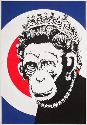 Monkey Queen by Banksy, 2003, Screenprint in colours on wove paper (49 x 35cm)