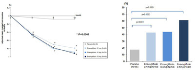Changes in HbA1c from the baseline through 12-week administration(left).  Percentage of Patients Displaying HbA1c<7.0% in Week 12(right). *Glycemic control goal in American Diabetes Association