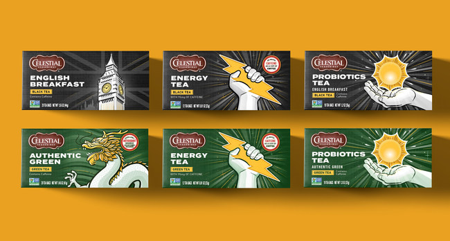 CBX designed the packaging for Celestial Seasonings new Energy and Probiotics teas and updated designs on its core green and black teas to pique the interest of the younger tea drinking generation.