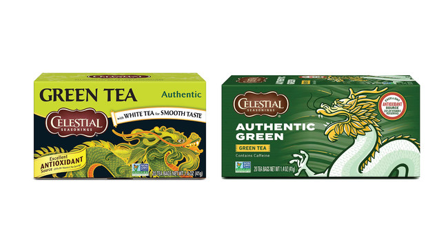 Before (left) and after images of Celestial Seasonings' Authentic Green Tea packaging shows move to bolder graphics and less text.