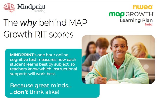 "Mindprint gives the ""WHY"" behind MAP Growth RIT scores so teachers can best support their students in learning."