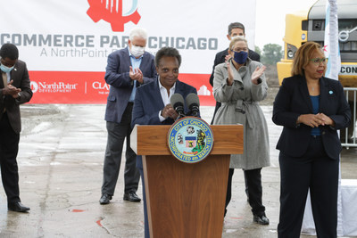 "Chicago Mayor Lori Lightfoot celebrates the opening of NorthPoint Development's Commerce Park Chicago. The 200-acre-site is located on the former Republic Steel plant, which has remained vacant for nearly 20 years. Lightfoot called the $164 million investment ""the embodiment of public-private sector partnerships that are built from the values of innovation, inclusion and economic empowerment."""